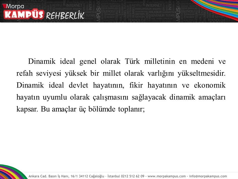 Dinamik ideal genel olarak Türk milletinin en medeni ve refah seviyesi yüksek bir millet olarak varlığını yükseltmesidir. Dinamik ideal devlet hayatın