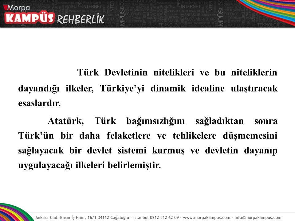 Türk Devletinin nitelikleri ve bu niteliklerin dayandığı ilkeler, Türkiye'yi dinamik idealine ulaştıracak esaslardır. Atatürk, Türk bağımsızlığını sağ