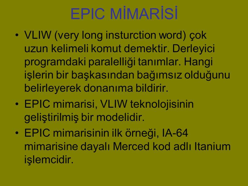 EPIC MİMARİSİ VLIW (very long insturction word) çok uzun kelimeli komut demektir.