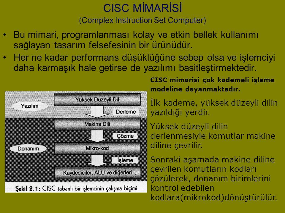CISC MİMARİSİ (Complex Instruction Set Computer) Bu mimari, programlanması kolay ve etkin bellek kullanımı sağlayan tasarım felsefesinin bir ürünüdür.
