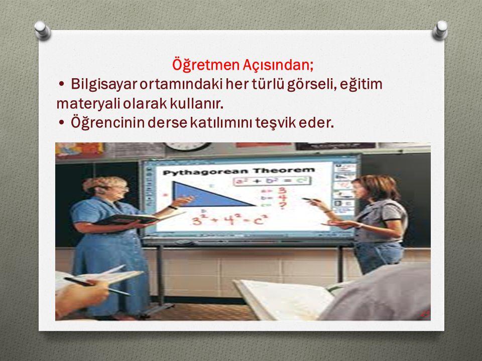 Öğretmen Açısından; Bilgisayar ortamındaki her türlü görseli, eğitim materyali olarak kullanır. Öğrencinin derse katılımını teşvik eder. 25