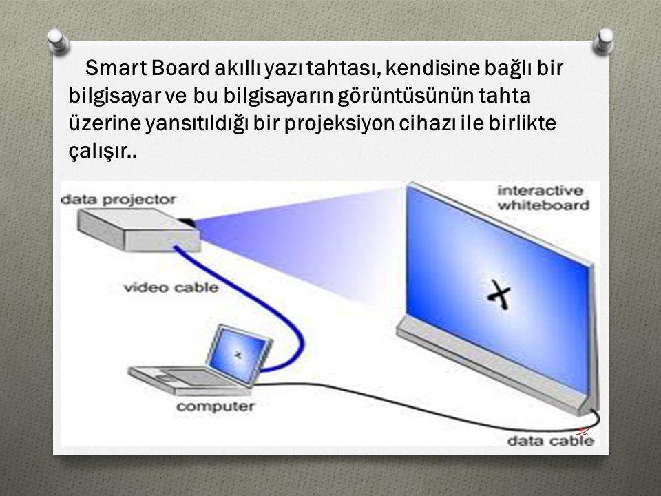Smart Board akıllı yazı tahtası, kendisine bağlı bir bilgisayar ve bu bilgisayarın görüntüsünün tahta üzerine yansıtıldığı bir projeksiyon cihazı ile