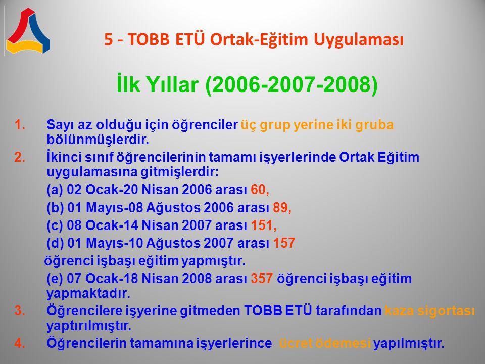 5 - TOBB ETÜ Ortak-Eğitim Uygulaması İlk Yıllar (2006-2007-2008) 1.Sayı az olduğu için öğrenciler üç grup yerine iki gruba bölünmüşlerdir. 2.İkinci sı