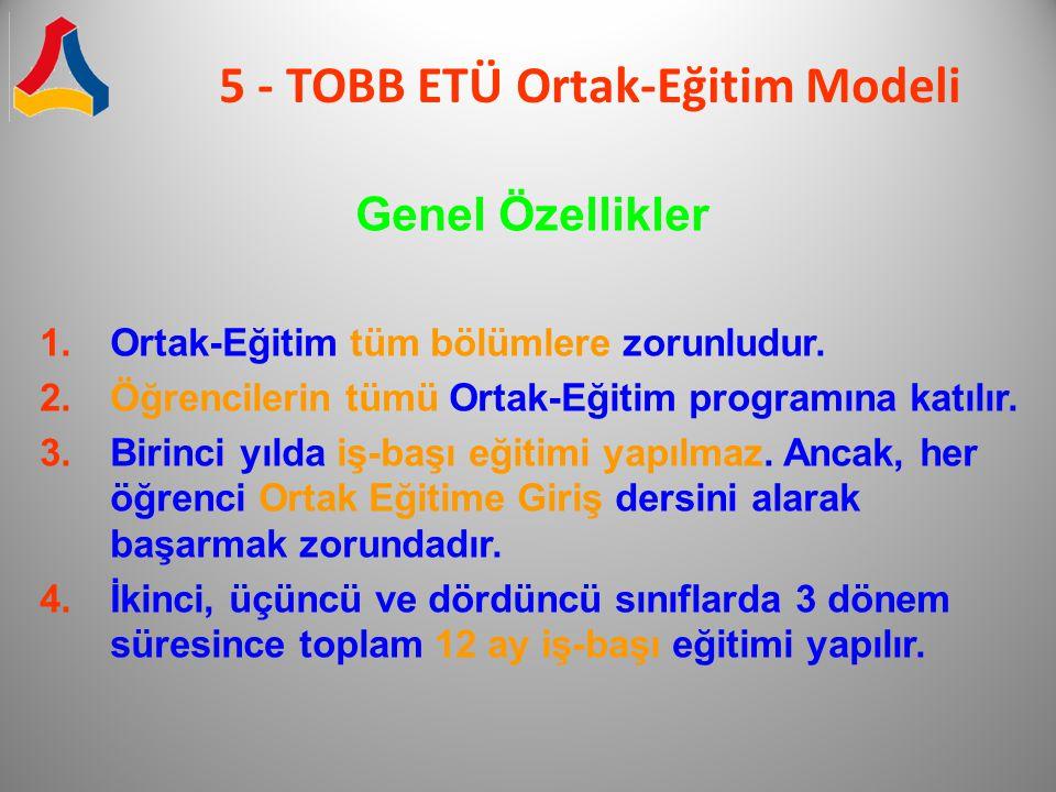5 - TOBB ETÜ Ortak-Eğitim Modeli Genel Özellikler 1.Ortak-Eğitim tüm bölümlere zorunludur. 2.Öğrencilerin tümü Ortak-Eğitim programına katılır. 3.Biri