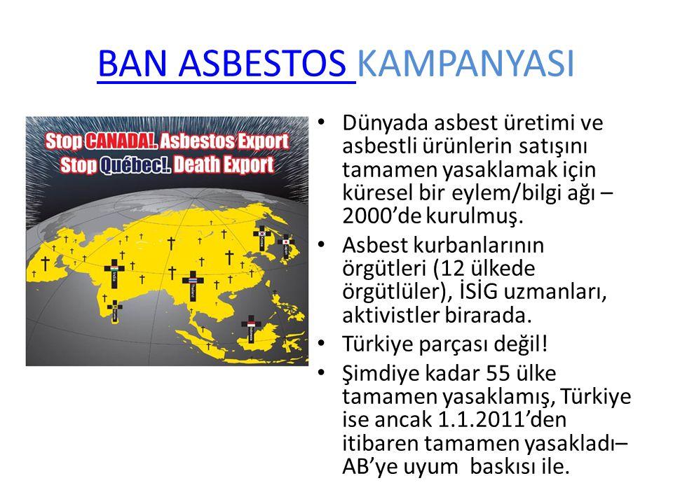 BAN ASBESTOS BAN ASBESTOS KAMPANYASI Dünyada asbest üretimi ve asbestli ürünlerin satışını tamamen yasaklamak için küresel bir eylem/bilgi ağı – 2000'de kurulmuş.