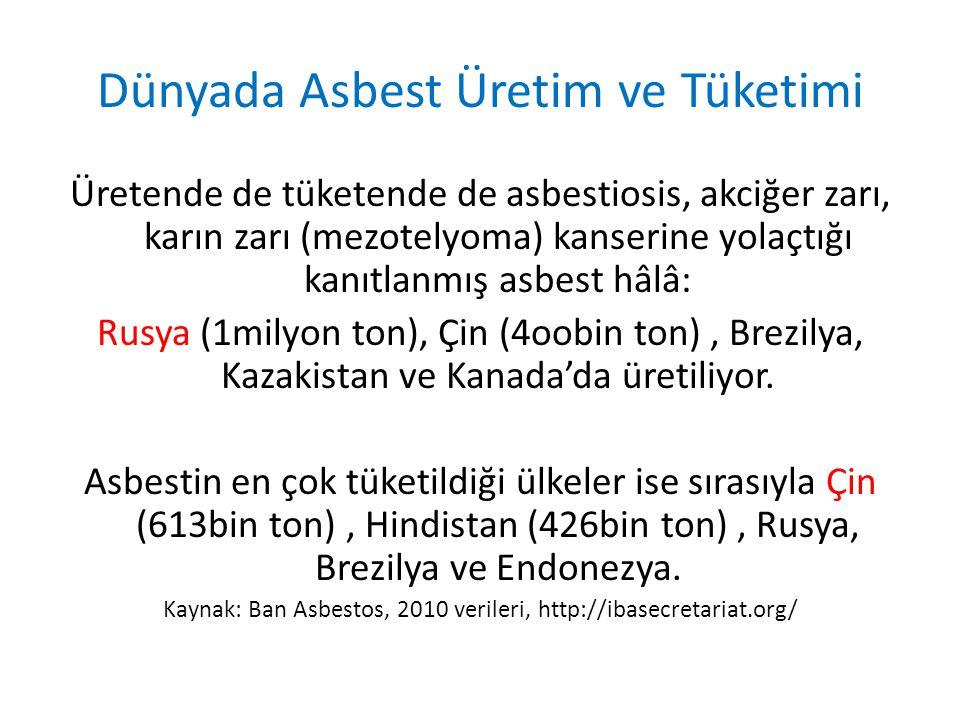 Dünyada Asbest Üretim ve Tüketimi Üretende de tüketende de asbestiosis, akciğer zarı, karın zarı (mezotelyoma) kanserine yolaçtığı kanıtlanmış asbest hâlâ: Rusya (1milyon ton), Çin (4oobin ton), Brezilya, Kazakistan ve Kanada'da üretiliyor.