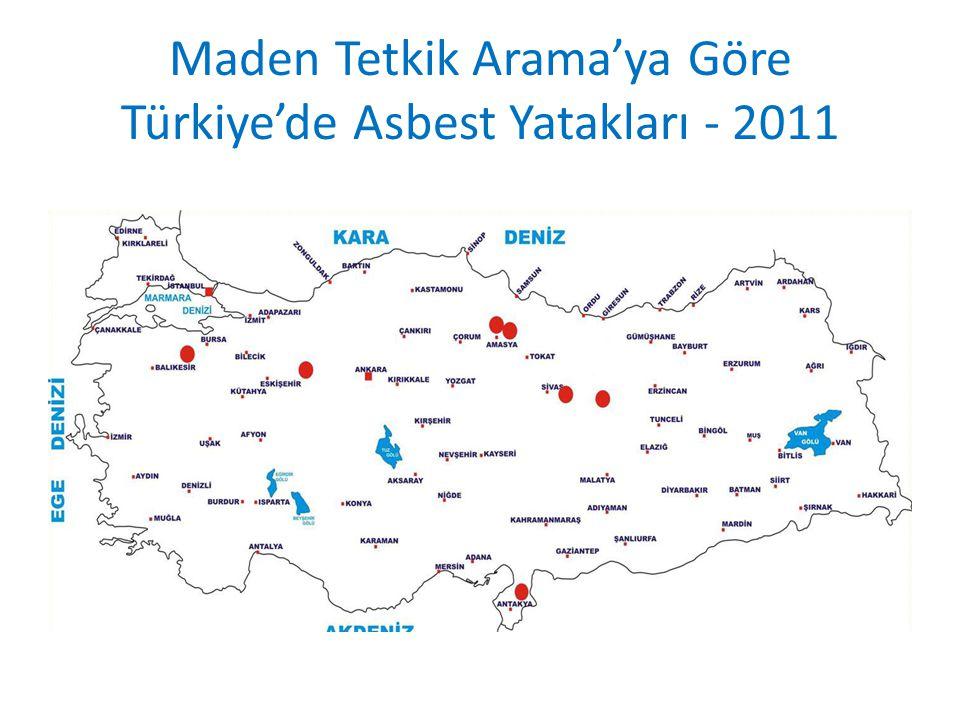 Maden Tetkik Arama'ya Göre Türkiye'de Asbest Yatakları - 2011