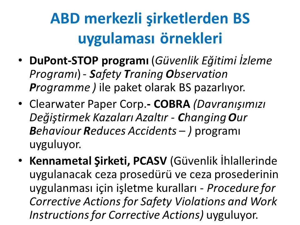 ABD merkezli şirketlerden BS uygulaması örnekleri DuPont-STOP programı (Güvenlik Eğitimi İzleme Programı) - Safety Traning Observation Programme ) ile paket olarak BS pazarlıyor.