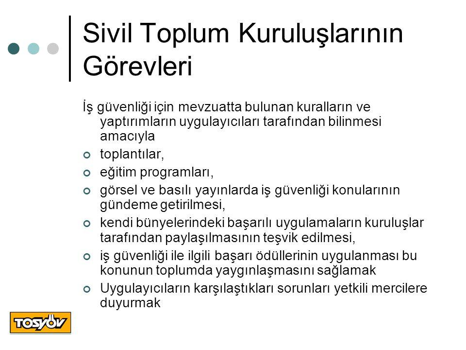 Sivil Toplum Kuruluşlarının Görevleri İş güvenliği için mevzuatta bulunan kuralların ve yaptırımların uygulayıcıları tarafından bilinmesi amacıyla top
