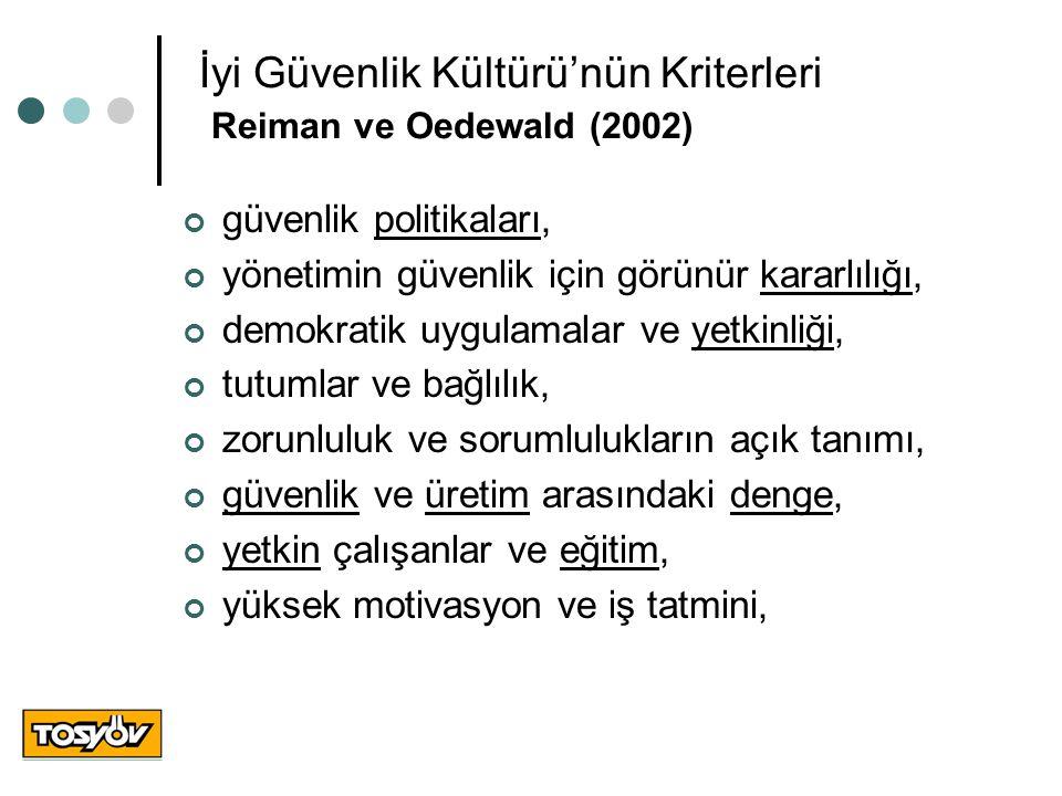 İyi Güvenlik Kültürü'nün Kriterleri Reiman ve Oedewald (2002) güvenlik politikaları, yönetimin güvenlik için görünür kararlılığı, demokratik uygulamal