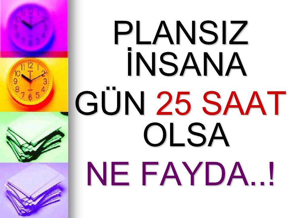 PLANSIZ İNSANA GÜN 25 SAAT OLSA NE FAYDA..!