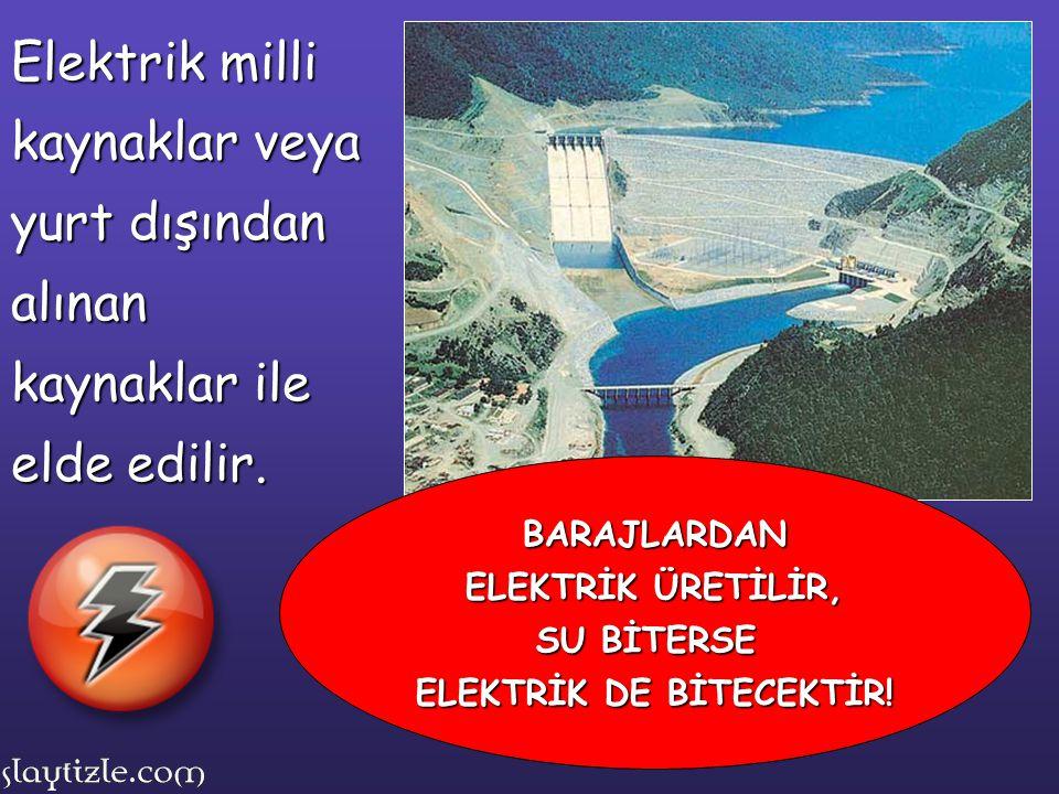 Elektrik milli kaynaklar veya yurt dışından alınan kaynaklar ile elde edilir. BARAJLARDAN ELEKTRİK ÜRETİLİR, SU BİTERSE ELEKTRİK DE BİTECEKTİR!