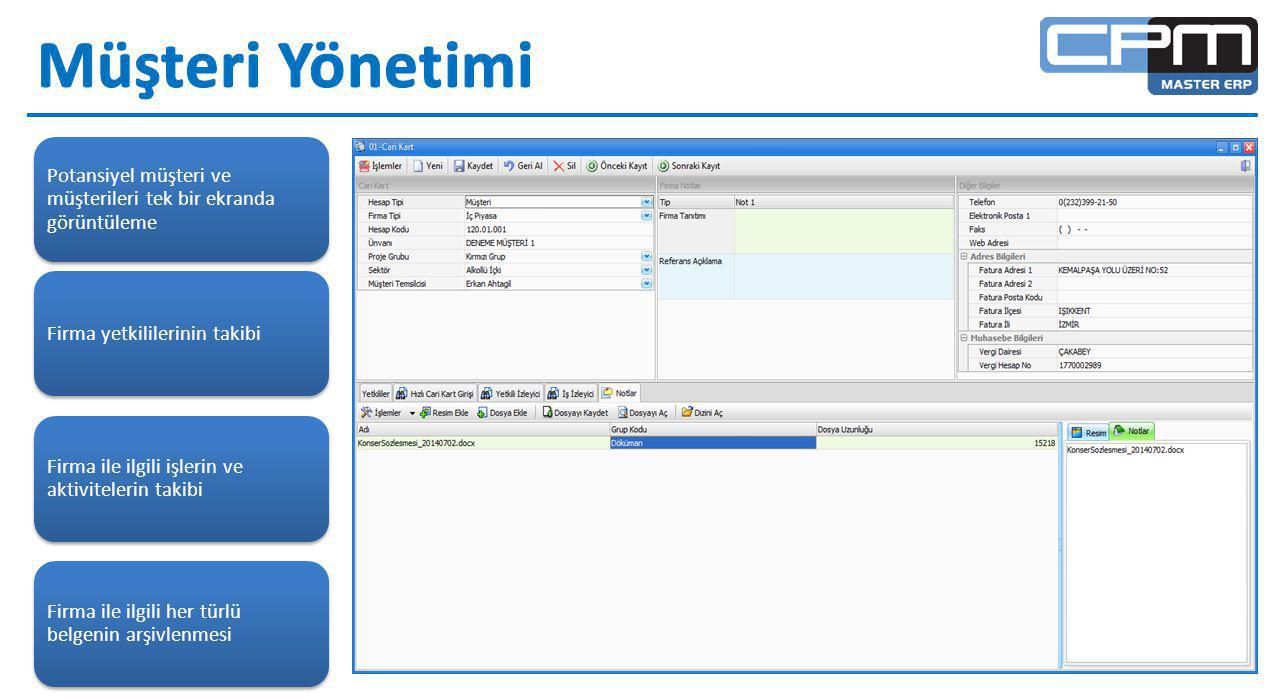 Potansiyel müşteri ve müşterileri tek bir ekranda görüntüleme Firma yetkililerinin takibi Firma ile ilgili işlerin ve aktivitelerin takibi Firma ile ilgili her türlü belgenin arşivlenmesi