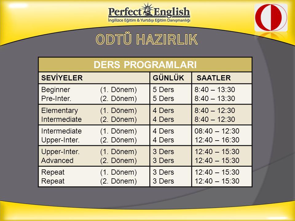 DERS PROGRAMLARI SEVİYELERGÜNLÜK SAATLER Beginner (1. Dönem) Pre-Inter.(2. Dönem) 5 Ders 8:40 – 13:30 Elementary (1. Dönem) Intermediate (2. Dönem) 4