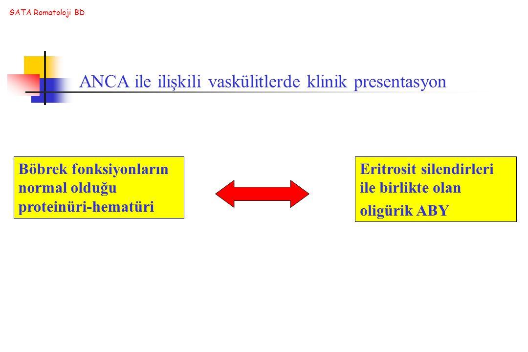 GATA Romatoloji BD Böbrek fonksiyonların normal olduğu proteinüri-hematüri Eritrosit silendirleri ile birlikte olan oligürik ABY ANCA ile ilişkili vas