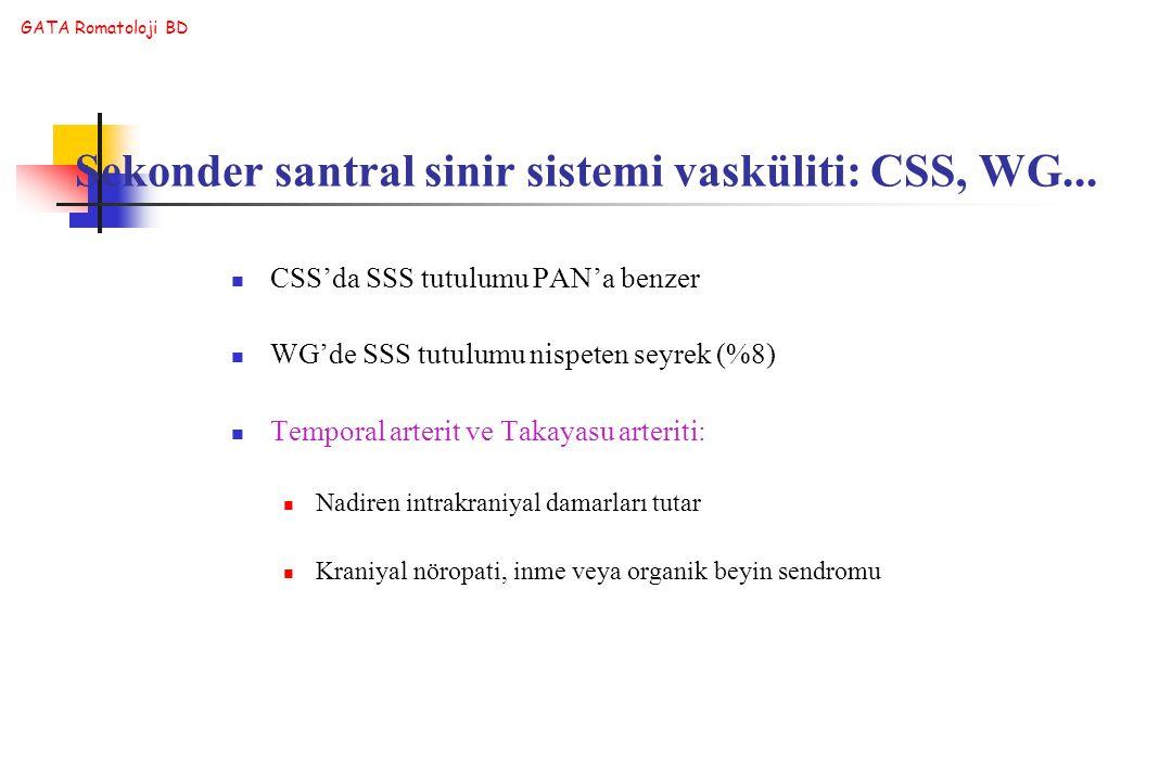 GATA Romatoloji BD CSS'da SSS tutulumu PAN'a benzer WG'de SSS tutulumu nispeten seyrek (%8) Temporal arterit ve Takayasu arteriti: Nadiren intrakraniy