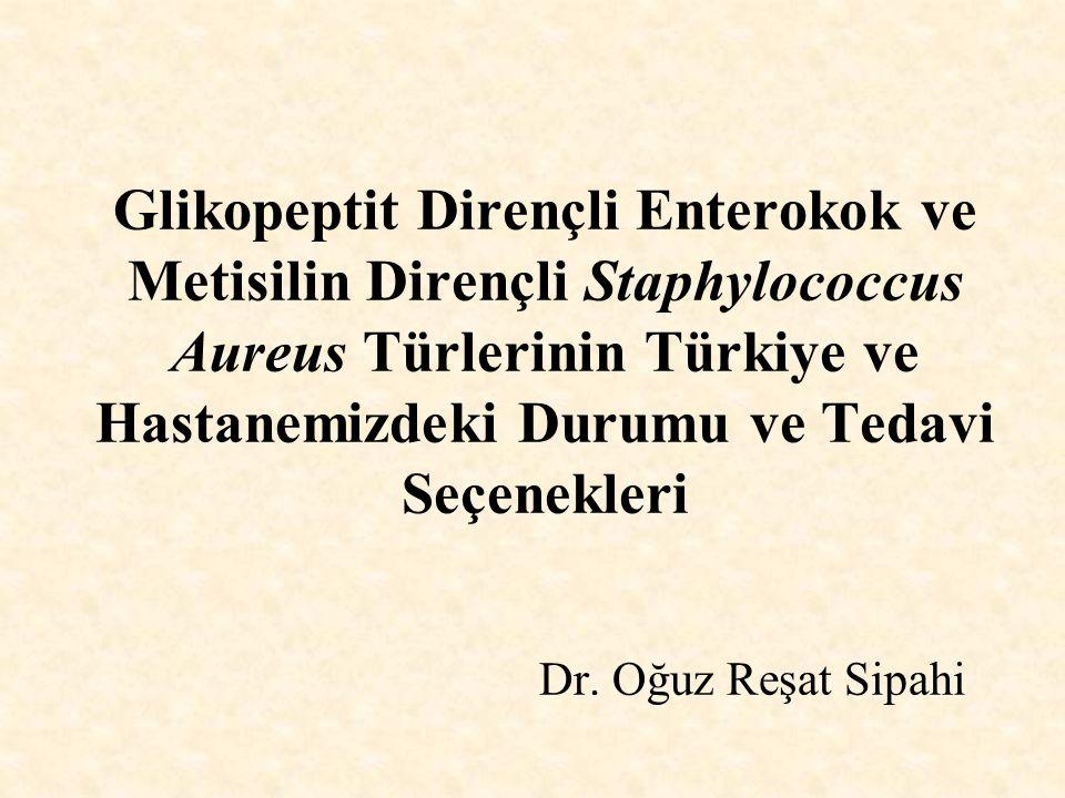 Glikopeptit Dirençli Enterokok ve Metisilin Dirençli Staphylococcus Aureus Türlerinin Türkiye ve Hastanemizdeki Durumu ve Tedavi Seçenekleri Dr. Oğuz
