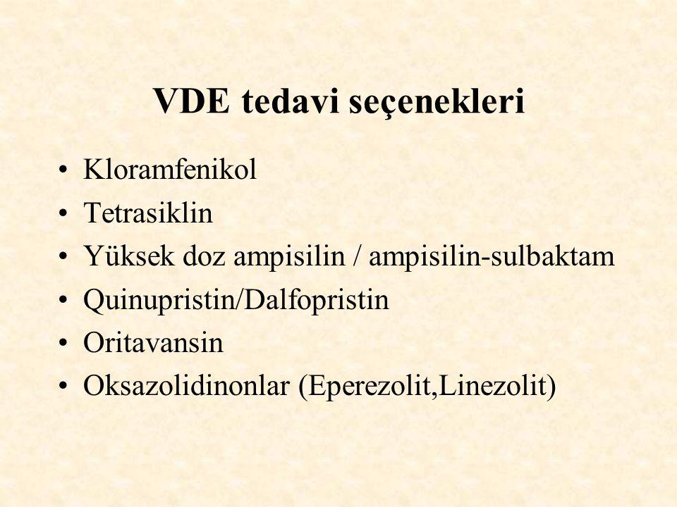 VDE tedavi seçenekleri Kloramfenikol Tetrasiklin Yüksek doz ampisilin / ampisilin-sulbaktam Quinupristin/Dalfopristin Oritavansin Oksazolidinonlar (Eperezolit,Linezolit)