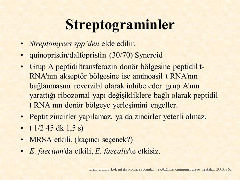 Streptograminler Streptomyces spp'den elde edilir. quinopristin/dalfopristin (30/70) Synercid Grup A peptidiltransferazın donör bölgesine peptidil t-
