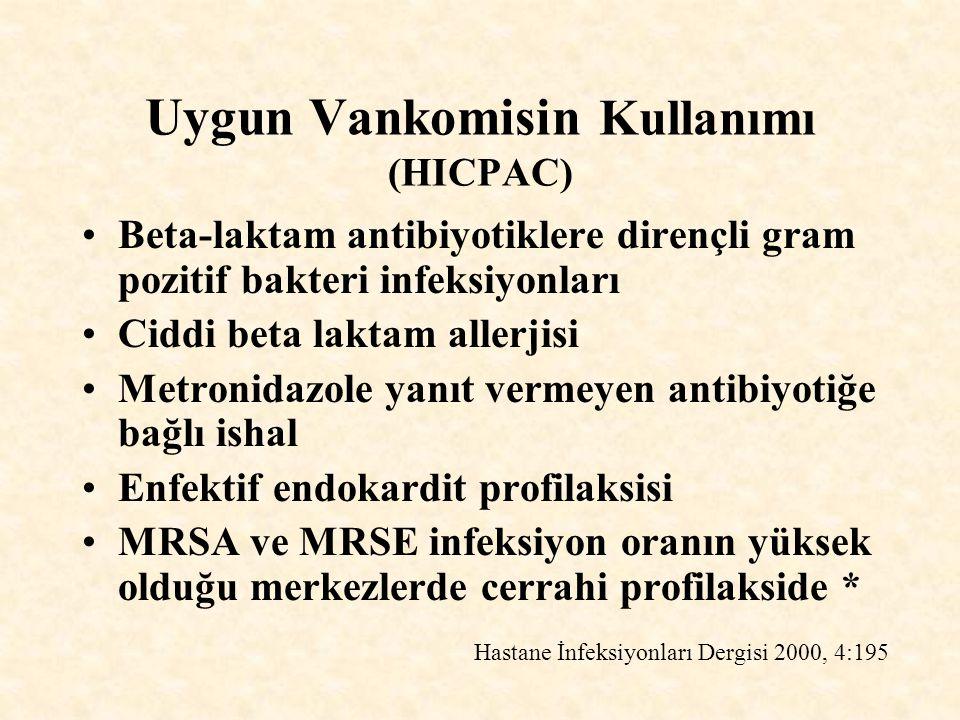 Uygun Vankomisin Kullanımı (HICPAC) Beta-laktam antibiyotiklere dirençli gram pozitif bakteri infeksiyonları Ciddi beta laktam allerjisi Metronidazole yanıt vermeyen antibiyotiğe bağlı ishal Enfektif endokardit profilaksisi MRSA ve MRSE infeksiyon oranın yüksek olduğu merkezlerde cerrahi profilakside * Hastane İnfeksiyonları Dergisi 2000, 4:195