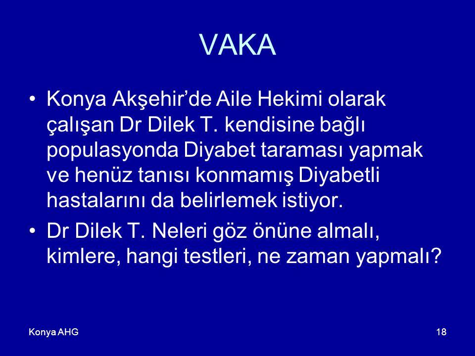 Konya AHG18 VAKA Konya Akşehir'de Aile Hekimi olarak çalışan Dr Dilek T. kendisine bağlı populasyonda Diyabet taraması yapmak ve henüz tanısı konmamış
