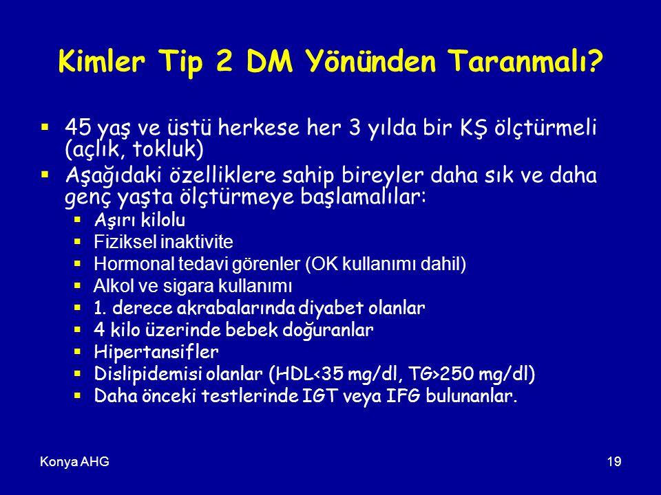 Konya AHG19 Kimler Tip 2 DM Yönünden Taranmalı.