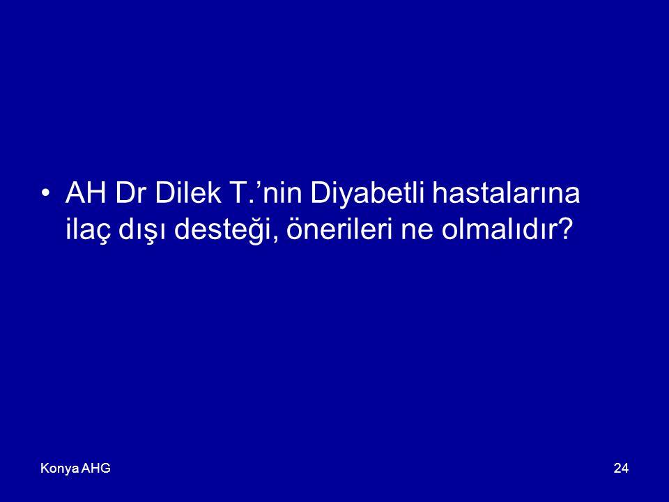 Konya AHG24 AH Dr Dilek T.'nin Diyabetli hastalarına ilaç dışı desteği, önerileri ne olmalıdır?
