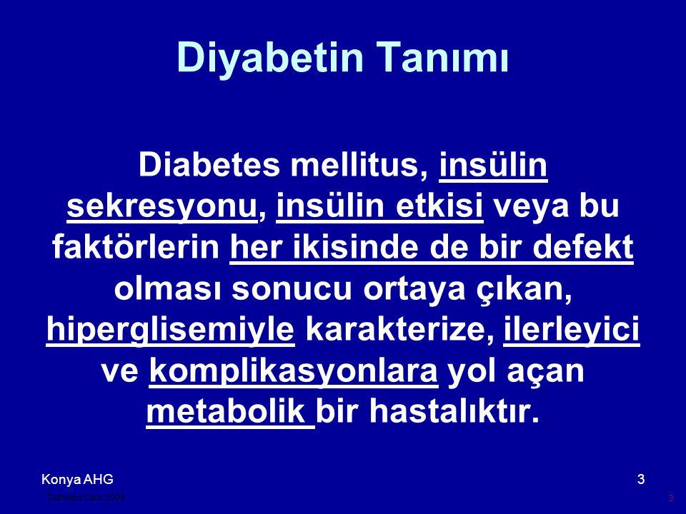 Konya AHG3 Diyabetin Tanımı Diabetes mellitus, insülin sekresyonu, insülin etkisi veya bu faktörlerin her ikisinde de bir defekt olması sonucu ortaya çıkan, hiperglisemiyle karakterize, ilerleyici ve komplikasyonlara yol açan metabolik bir hastalıktır.