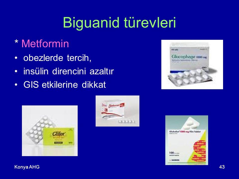 Konya AHG43 Biguanid türevleri * Metformin obezlerde tercih, insülin direncini azaltır GIS etkilerine dikkat