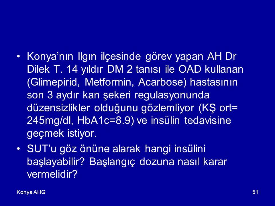 Konya AHG51 Konya'nın Ilgın ilçesinde görev yapan AH Dr Dilek T. 14 yıldır DM 2 tanısı ile OAD kullanan (Glimepirid, Metformin, Acarbose) hastasının s