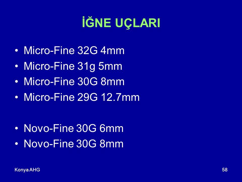 Konya AHG58 İĞNE UÇLARI Micro-Fine 32G 4mm Micro-Fine 31g 5mm Micro-Fine 30G 8mm Micro-Fine 29G 12.7mm Novo-Fine 30G 6mm Novo-Fine 30G 8mm