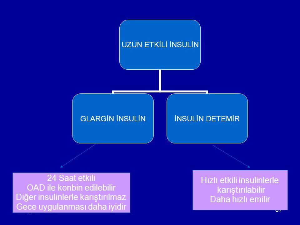 Konya AHG67 24 Saat etkili OAD ile konbin edilebilir Diğer insulinlerle karıştırılmaz Gece uygulanması daha iyidir Hızlı etkili insulinlerle karıştırılabilir Daha hızlı emilir