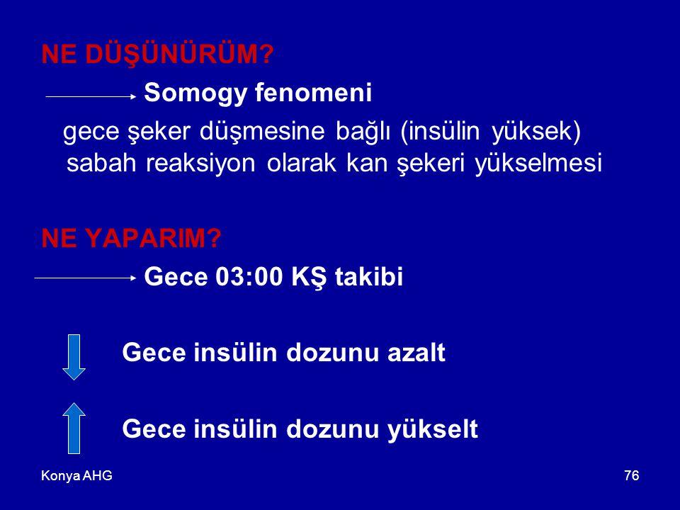 Konya AHG76 NE DÜŞÜNÜRÜM? Somogy fenomeni gece şeker düşmesine bağlı (insülin yüksek) sabah reaksiyon olarak kan şekeri yükselmesi NE YAPARIM? Gece 03