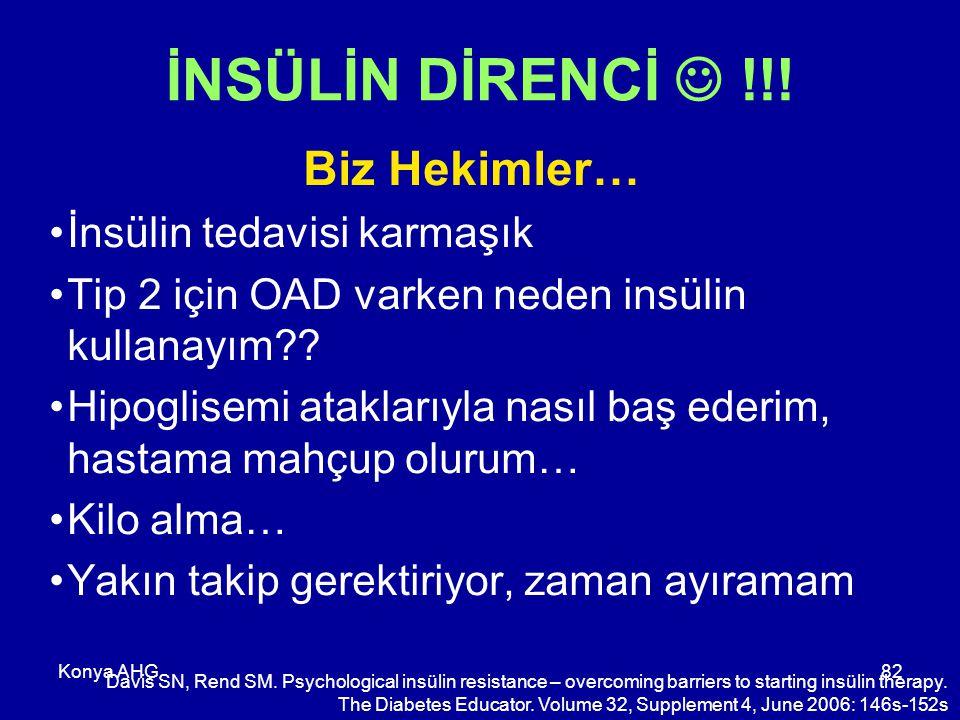 Konya AHG82 İNSÜLİN DİRENCİ !!! Biz Hekimler… İnsülin tedavisi karmaşık Tip 2 için OAD varken neden insülin kullanayım?? Hipoglisemi ataklarıyla nasıl