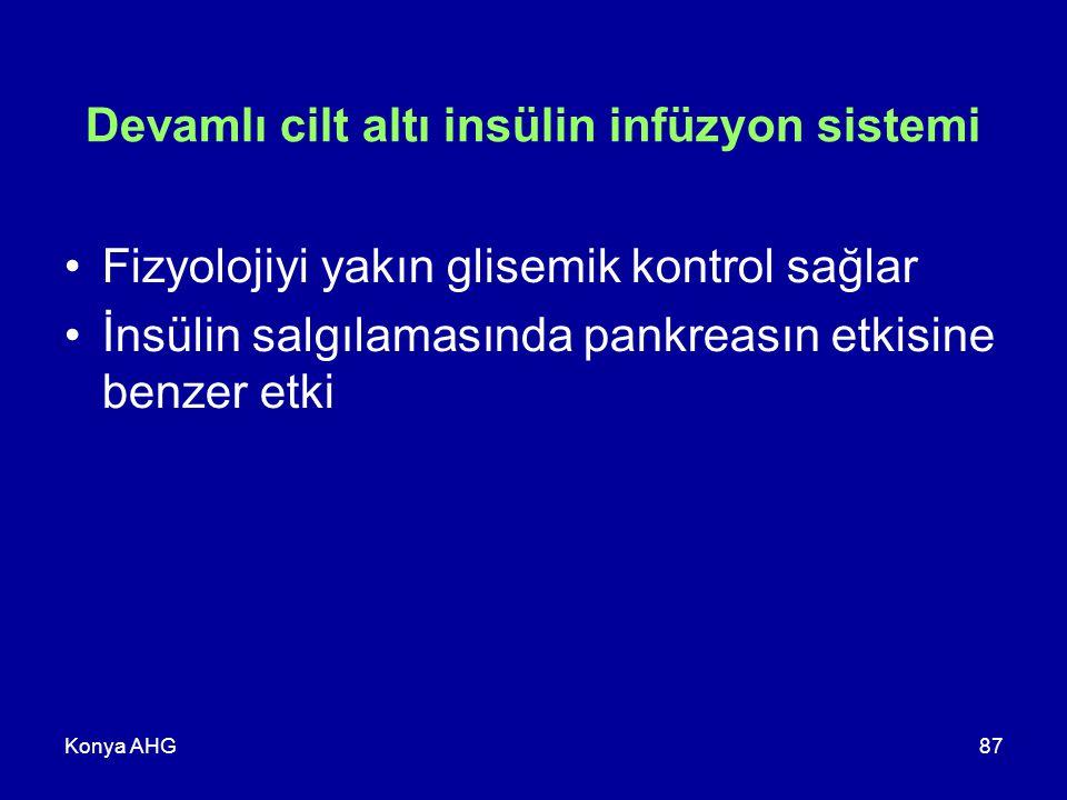 Konya AHG87 Devamlı cilt altı insülin infüzyon sistemi Fizyolojiyi yakın glisemik kontrol sağlar İnsülin salgılamasında pankreasın etkisine benzer etk