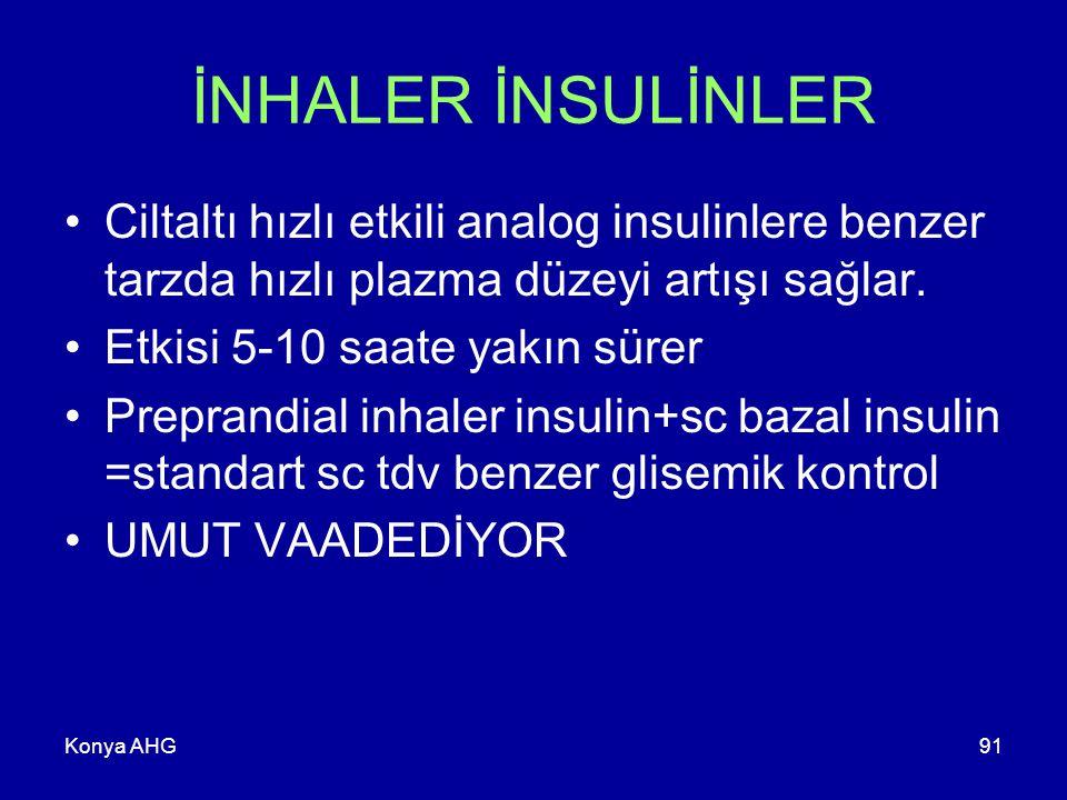 Konya AHG91 İNHALER İNSULİNLER Ciltaltı hızlı etkili analog insulinlere benzer tarzda hızlı plazma düzeyi artışı sağlar.