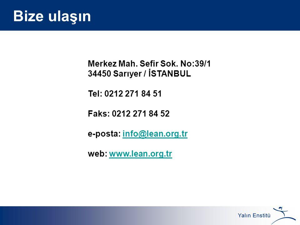 Merkez Mah. Sefir Sok. No:39/1 34450 Sarıyer / İSTANBUL Tel: 0212 271 84 51 Faks: 0212 271 84 52 e-posta: info@lean.org.trinfo@lean.org.tr web: www.le