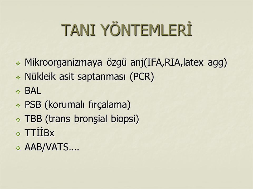 TANI YÖNTEMLERİ  Mikroorganizmaya özgü anj(IFA,RIA,latex agg)  Nükleik asit saptanması (PCR)  BAL  PSB (korumalı fırçalama)  TBB (trans bronşial biopsi)  TTİİBx  AAB/VATS….