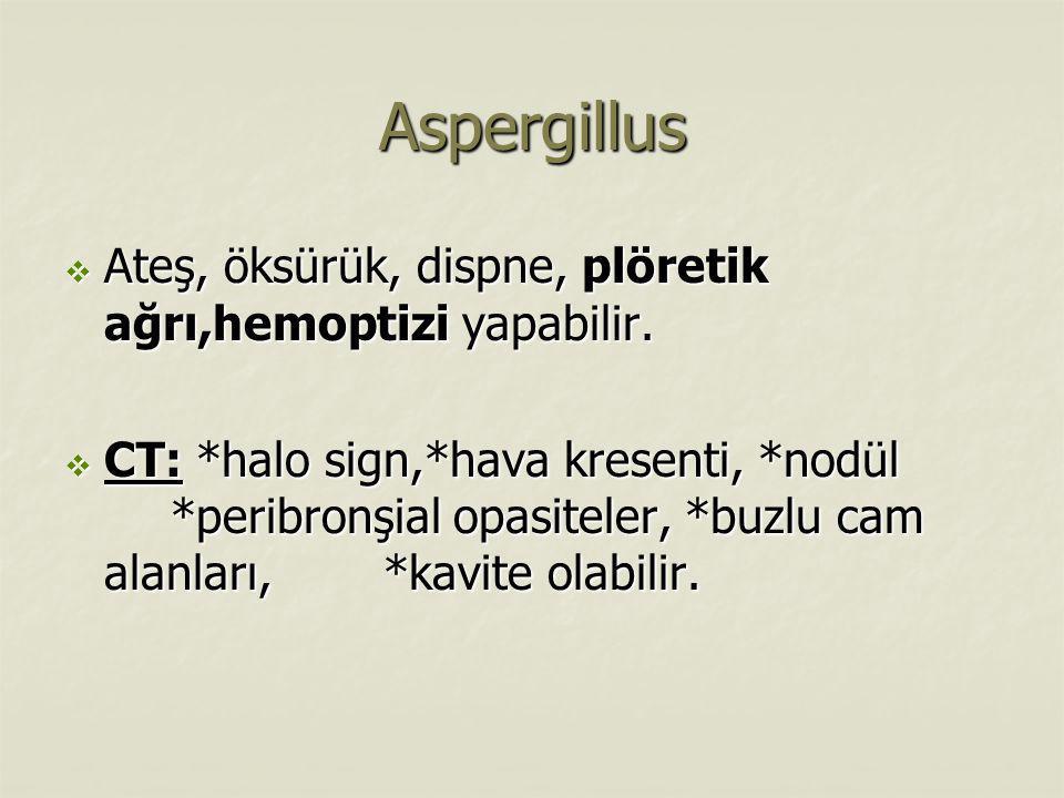 Aspergillus  Ateş, öksürük, dispne, plöretik ağrı,hemoptizi yapabilir.  CT: *halo sign,*hava kresenti, *nodül *peribronşial opasiteler, *buzlu cam a
