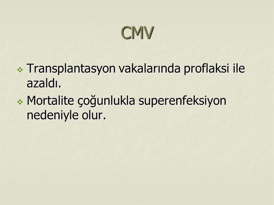 CMV  Transplantasyon vakalarında proflaksi ile azaldı.  Mortalite çoğunlukla superenfeksiyon nedeniyle olur.
