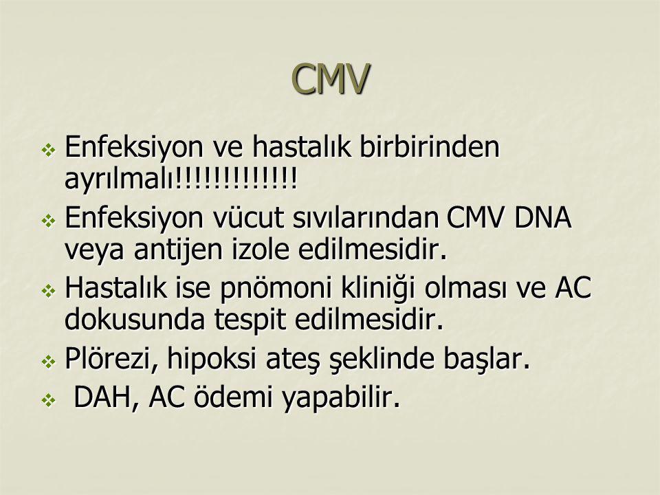 CMV  Enfeksiyon ve hastalık birbirinden ayrılmalı!!!!!!!!!!!!!  Enfeksiyon vücut sıvılarından CMV DNA veya antijen izole edilmesidir.  Hastalık ise