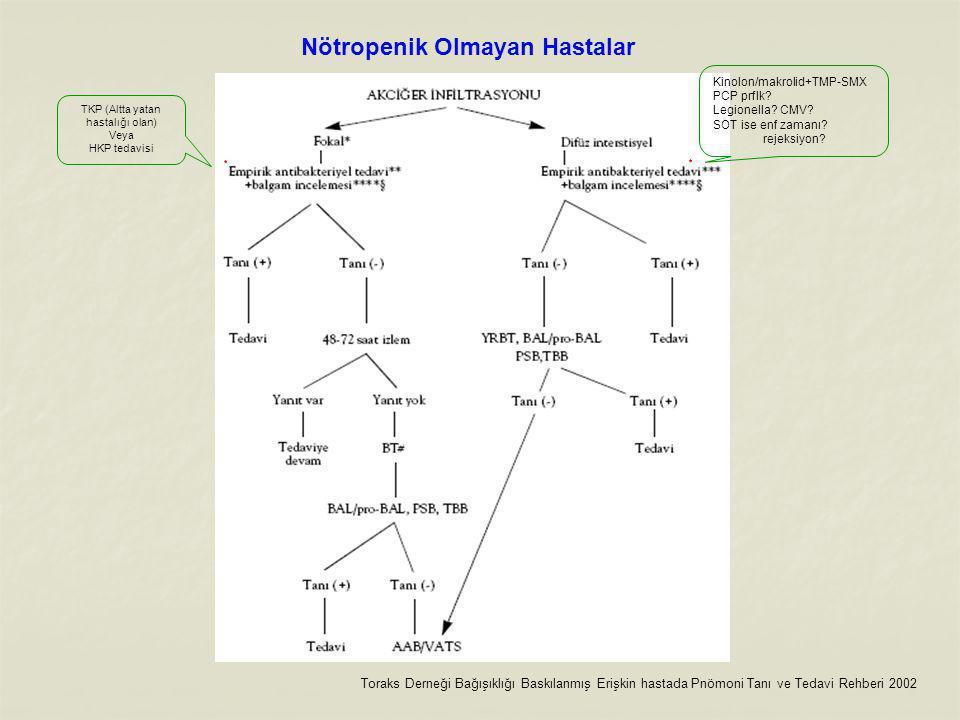 Nötropenik Olmayan Hastalar Toraks Derneği Bağışıklığı Baskılanmış Erişkin hastada Pnömoni Tanı ve Tedavi Rehberi 2002 Kinolon/makrolid+TMP-SMX PCP prflk.