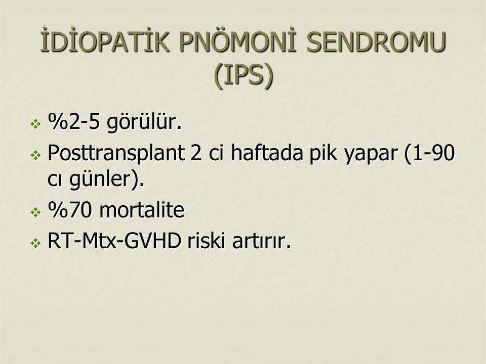 İDİOPATİK PNÖMONİ SENDROMU (IPS)  %2-5 görülür.  Posttransplant 2 ci haftada pik yapar (1-90 cı günler).  %70 mortalite  RT-Mtx-GVHD riski artırır