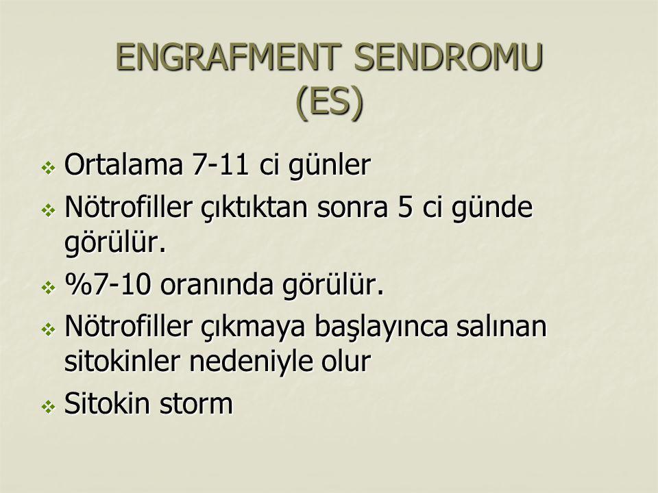 ENGRAFMENT SENDROMU (ES)  Ortalama 7-11 ci günler  Nötrofiller çıktıktan sonra 5 ci günde görülür.  %7-10 oranında görülür.  Nötrofiller çıkmaya b