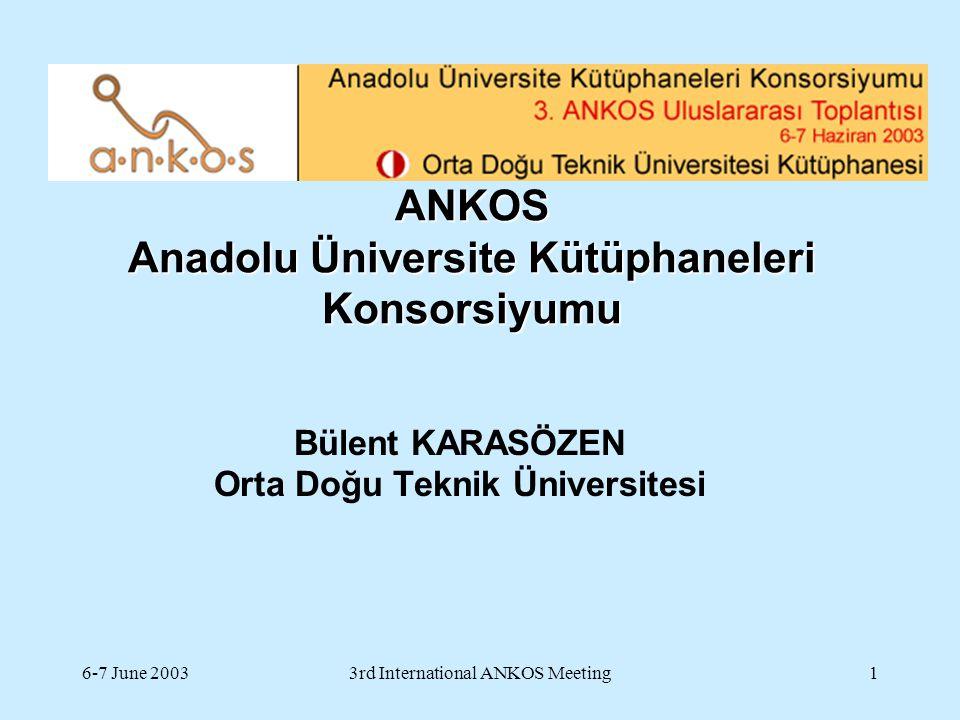 6-7 June 20033rd International ANKOS Meeting12 Eğitim dili Ingilizce olan üniversiteler Devlet üniversiteleri  15  öğrenci sayısı : 59.428 (% 6) Vakıf üniversiteleri 15  öğrenci sayısı : 43.373 (% 95)