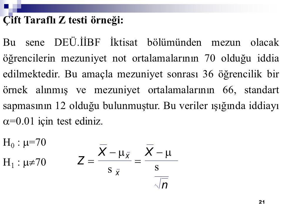 22 ORANLARLA İLGİLİ HİPOTEZ TESTİ Çift Kuyruk Testi Sol Kuyruk Testi Sağ Kuyruk Testi Örnekten hesaplanan oran p ile gösterilirse oranlarla ilgili test istatistiği;