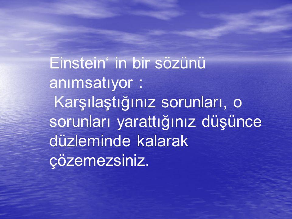 Einstein' in bir sözünü anımsatıyor : Karşılaştığınız sorunları, o sorunları yarattığınız düşünce düzleminde kalarak çözemezsiniz.
