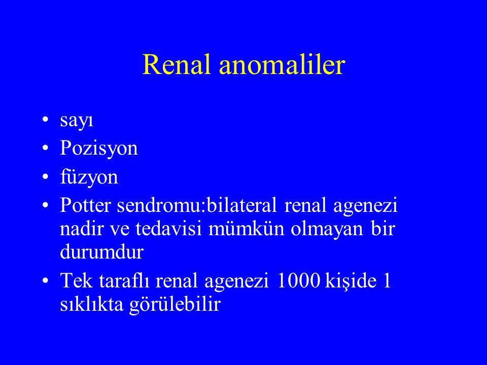 Renal anomaliler sayı Pozisyon füzyon Potter sendromu:bilateral renal agenezi nadir ve tedavisi mümkün olmayan bir durumdur Tek taraflı renal agenezi