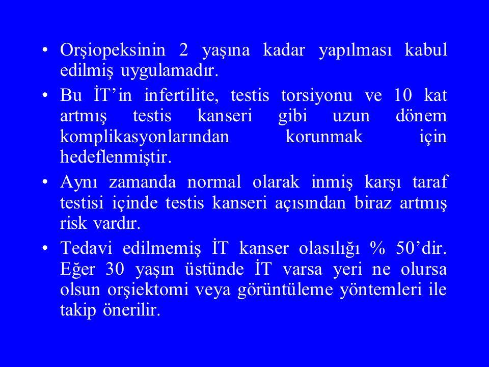 Orşiopeksinin 2 yaşına kadar yapılması kabul edilmiş uygulamadır. Bu İT'in infertilite, testis torsiyonu ve 10 kat artmış testis kanseri gibi uzun dön