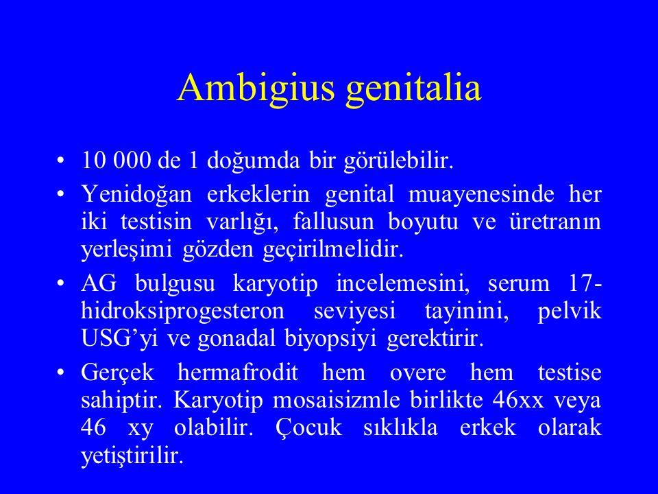 Ambigius genitalia 10 000 de 1 doğumda bir görülebilir. Yenidoğan erkeklerin genital muayenesinde her iki testisin varlığı, fallusun boyutu ve üretran
